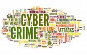Cyber crime concept in word tag cloud isolated on white background