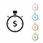 Black Time Is Money Icon Isolated On White Background. Money Is Time. Effective Time Management. Con poster