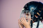 Protective Grid On Face. Sport Equipment. Hockey Or Rugby Helmet. Sport Childhood. Future Sport Star poster