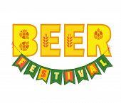 Beer Fest Hand Drawn Flat Color Vector Lettering. Beer Festival Typographic Fancy Letters Design Ele poster