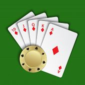 A Royal Flush Of Diamonds With Gold Poker Chip On Green Background, Winning Hands Of Poker Cards, Ca poster