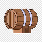 Horizontal Wooden Barrel Icon. Cartoon Illustration Of Horizontal Wooden Barrel Vector Icon For Web  poster