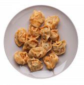 Dumplings On A Light Gray  Plate Isolated On White Background. Dumplings In Tomato Sauce. Dumplings  poster