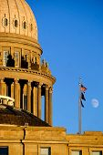 Idaho State Capitol Building governing government dome structure legal laws moon sky flags poster