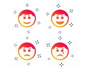 Circle Smile Face Icons. Happy, Sad, Cry Signs. Happy Smiley Chat Symbol. Sadness Depression And Cry poster