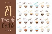 Set Of 24 Coffee Types And Their Preparation In Cartoon Style Vector Illustration. Names In Spanish, poster