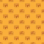 Red Signed Document Line Icon Isolated Seamless Pattern On Brown Background. Pen Signing A Contract  poster