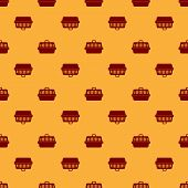 Red Pet Carry Case Icon Isolated Seamless Pattern On Brown Background. Carrier For Animals, Dog And  poster