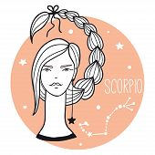 Scorpio Girl. Sketch Style Woman With Zodiac Sign. Stars, Astrological, Constellation, Beauty, Femal poster