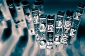 the words WORDS with old typewriter keys  macro  monochrome image poster