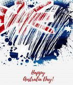 Happy Australia Day. Holiday Background With Grunge Watercolor Painted Australia Flag In Heart Shape poster
