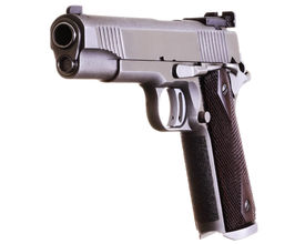 picture of game-cock  - Sharply focused and stacked closeup of an Ultra Deluxe 45 acp caliber semi - JPG
