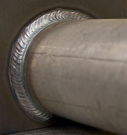 image of tig  - steel pipe tig welded to steel  plate - JPG