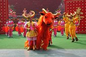 SHENZHEN, CHINA-JANUARY 22: Dance ensemble in the original unusual costumes on January,22,2009 in Fo