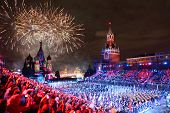 MOSCOW - SEPTEMBER 4: All participant and salute at Military Music Festival Spasskaya Tower on Septe