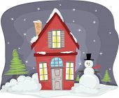 Illustration of a Snowman Standing Beside a Red House Covered in Snow