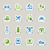 Paper Cut - Health and Fitness icons set