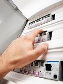 pic of fuse-box  - Closeup view of a box with automatic fuses - JPG