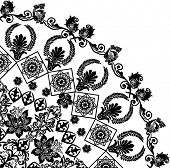 illustration with black flower quadrant ornament