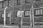 Warning sign at Auschwitz