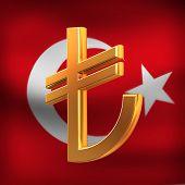 Turkish Lyra On Flag Background