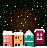 Colorful Christmas City Houses With Snowing Behind