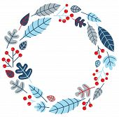 Christmas Retro Holiday Wreath Isolated On White