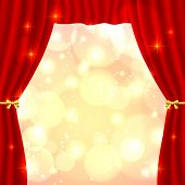 Red opened vector theatrical curtain