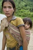 Portrait Hmong Woman With Baby