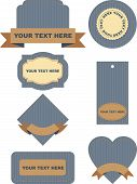 set of labels on jeans background