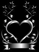 Un corazón de fondo un gran corazón central sobre un fondo negro