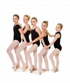 image of leotards  - Young Ballet Dancers that are Buddies Lineup in Class - JPG