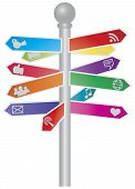 Direction Social Media Signs Illustration