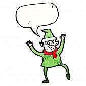 cartoon christmas elf frantically waving