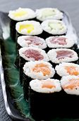 rolls with salmon and tuna