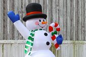 An inflatable snowman