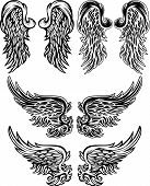 stock photo of cherub  - Assorted Wings of Angels Ornate Vector Images - JPG