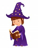 cute little sorceress girl with magic book