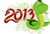 Illustration Featuring a Snake and the Number 2013 Depicting the Year of the Snake