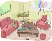 foto of untidiness  - Illustration of House After a Party - JPG