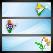 India Map design in flag tri colors, website headers or banners set. EPS 10.