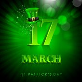 Saint Patrick's Day background or greeting card with Leprechaun Hat on green rays background. EPS 10