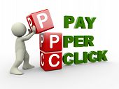 foto of cube  - 3d person placing ppc pay per click cubes - JPG