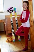 Winter holidays, ski holidays, apres ski - child in a room apartment
