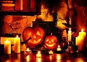 stock photo of jack o lanterns  - Halloween pumpkin lantern - JPG