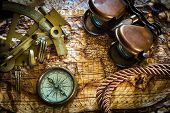 pic of node  - vintage  still life with compass - JPG