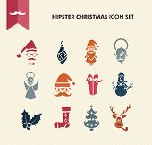 Hipster Merry Christmas Icons Set Eps10 File.