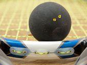 Double Yellow Dot Squash Ball On Racket