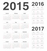 European 2015, 2016, 2017 Year Vector Calendars