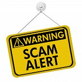 stock photo of precaution  - A yellow and black sign with the words Scam Alert isolated on a white background Warning of Scam Alert - JPG
